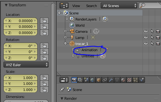 Blender selected object with animation